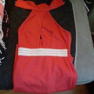 Red  pencil  halter top dress